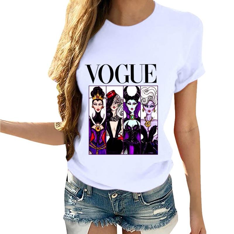 Camiseta de manga corta con dibujos animados de villana malvada reina ropa de verano Vogue camiseta Camisas Mujer Tumblr camiseta femenina camisetas