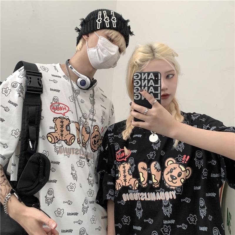 Couple T-Shirts Tide Graffiti Bear Print Summer 2021 New Retro Loose Short-sleeved Trendy Casual Women Tops Street Style Hip Hop