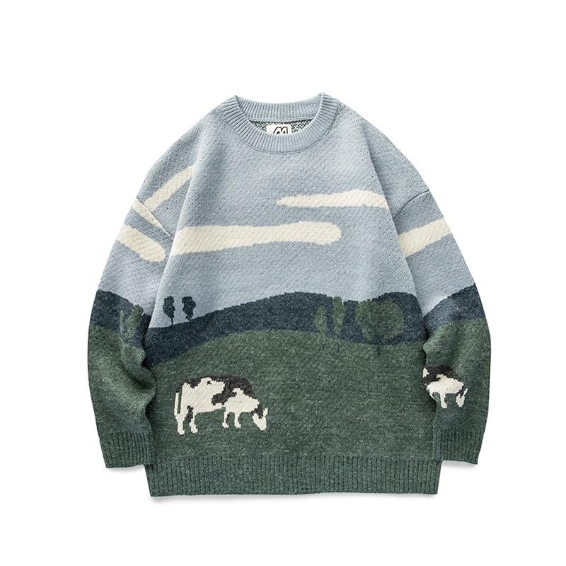 Винтажные зимние свитера для мужчин и женщин, Молодежные коров, пуловеры 2020, мужские корейские модные свитеры с круглым вырезом, женская пов...