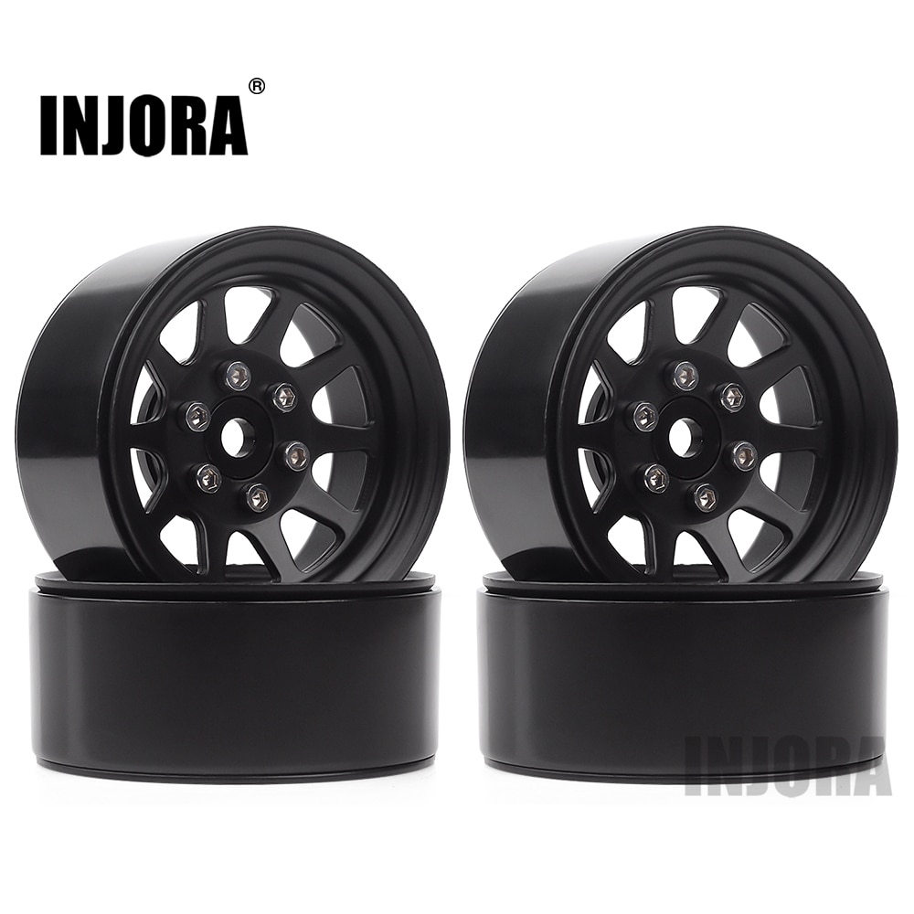 INJORA 107g/pcs Metal Alloy 1.9 Beadlock Wheel Rims for 1:10 RC Crawler Axial SCX10 AXI03007 90046 T