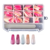 240pcs pointed false nails wear nails mixed multi color ballet nail patches with nail file suitable for salon or personal use