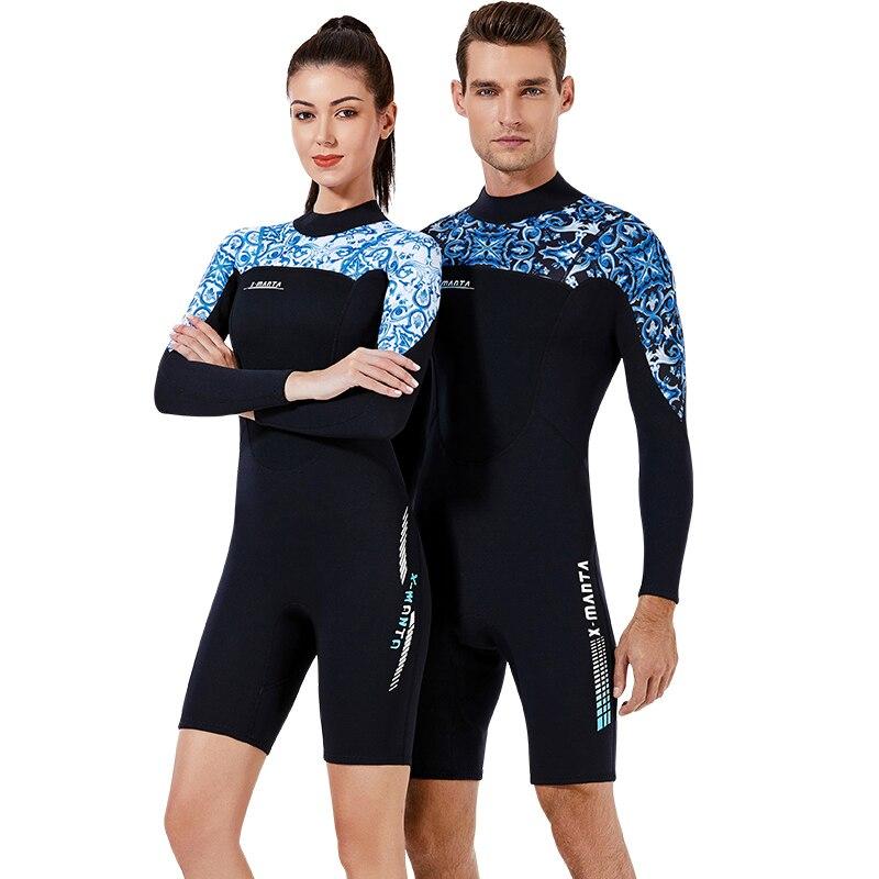 Nueva Marca impresa 1,5mm traje de neopreno corto para hombres mujeres natación Scuba snorkel protector solar de buceo traje de baño traje de surf