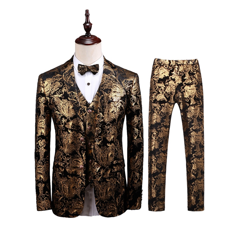 2021 New Spring and Autumn High Quality Men's Pure Color Gold Flower Single Button Slim Long-sleeved Men's Suit/ man suit