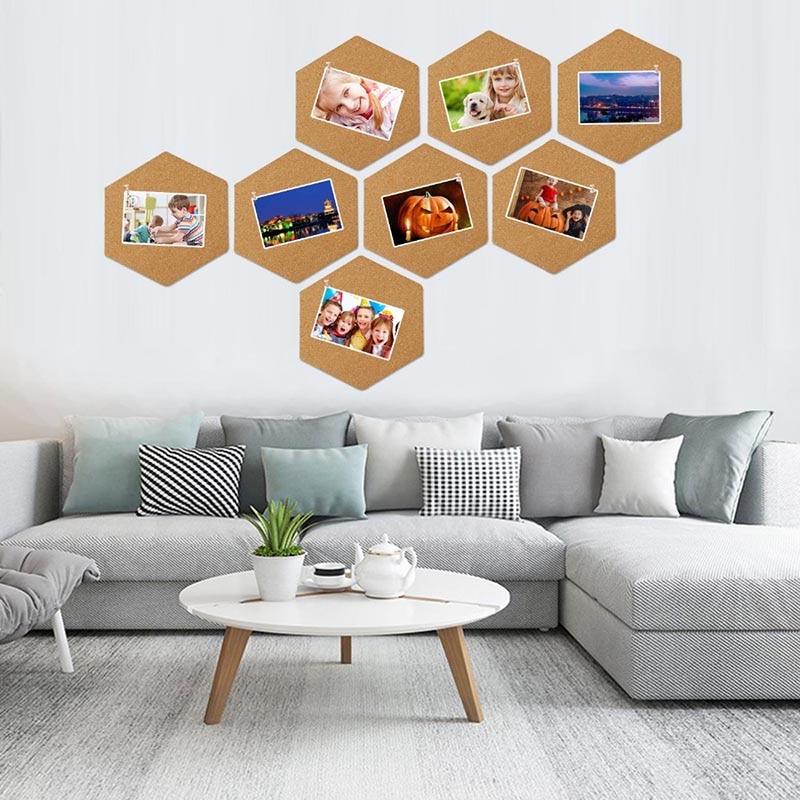 8 stücke 200x173mm Selbst-adhesive Kork Bord Hexagonal Kork Wand Bulletin Memo Brief Nachricht Bord Foto display Wand Dekoration