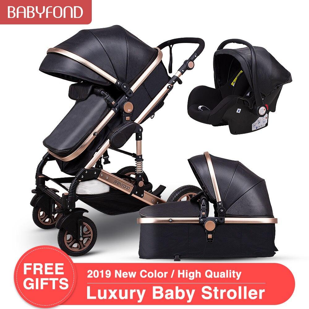 Babyfond cochecito de bebé de alto paisaje 3 en 1 cochecito de Pu de cuero de aleación de aluminio marco cochecito plegable carrito UE carrito de recién nacido plegable
