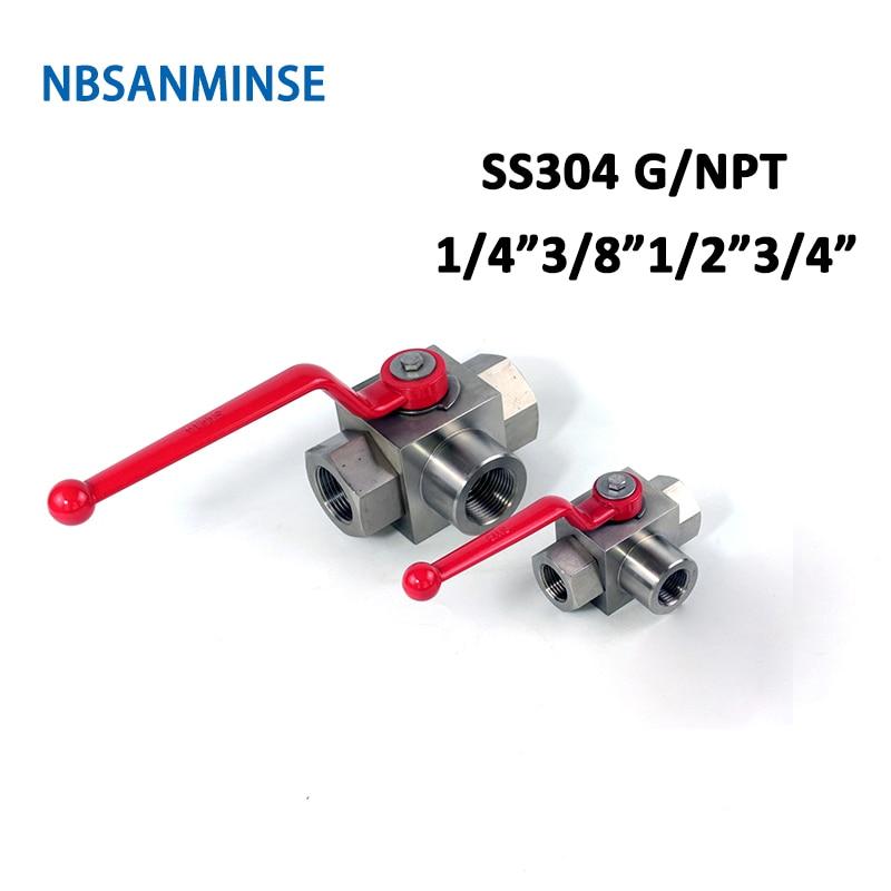Nbsanminse khb3k npt g 1/4 3/8 1/2 3/4 válvula de esfera de alta pressão hidráulica aço inoxidável ss304 khb 3 vias 31.5mpa
