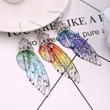 Nowy 1 para Femme skrzydło spadek kolczyki kolczyk srebrny bajka cykada skrzydła Handmade kryształ złoty kryształek spadek kolczyk