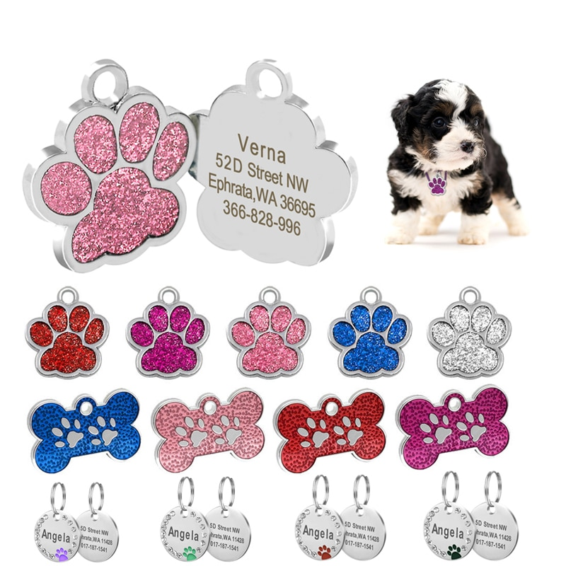 Custom Anti-lost Dog ID Tag Engraved Pet Collar Accessories Personalized Cat Puppy Stainless Steel Bone/Paw Name Tags