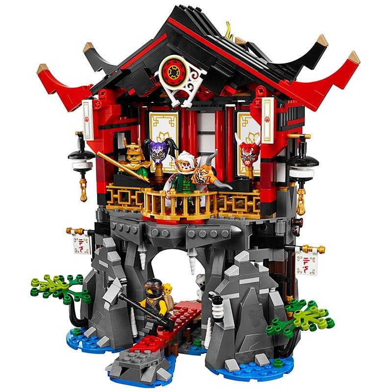 809 Uds. Juego de bloques Ninja Temple of resurrección, compatibles Lepining ninjagoes 70643, juguetes de bloques de construcción para niños
