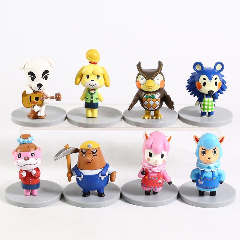 Animales nuevos horizontes K.K. Slider Isabelle Resetti Blathers Mabel Reese Cyrus Takumi Mini figuras de PVC de juguete 8 unids/set
