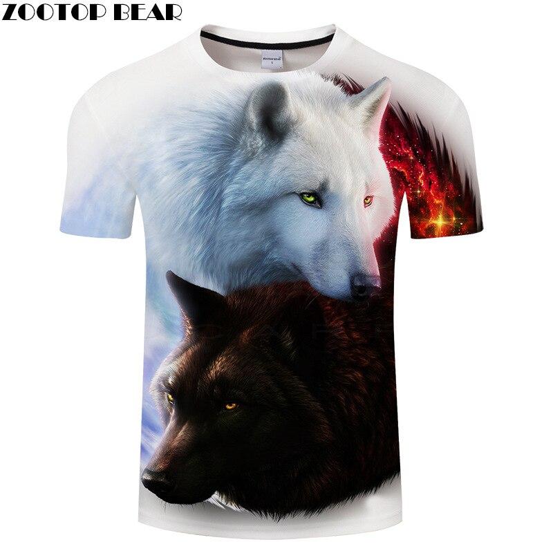 Nueva camiseta de lobo para hombre, mujer, ropa de moda, 3d Camiseta con estampado Animal, camiseta de hip hop Street wear, Camiseta de algodón, talla asiática 6XL