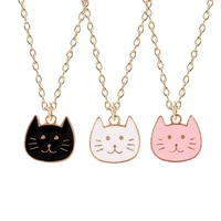 fashion cute animal cat necklace pendant best friend pink black whitechain birthday friendship lucky jewelry for women gift