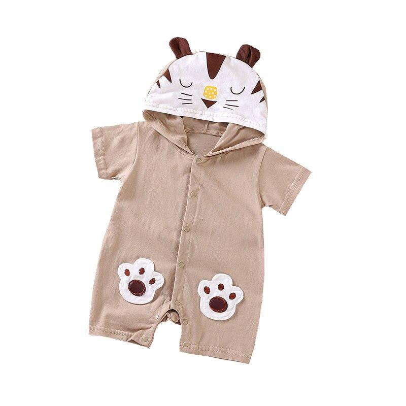 2021 cute cow tiger Infant jumpsuit summer romper animal print girl boy cotton suit newborn climbing cartoon rompers 3-12M cheap