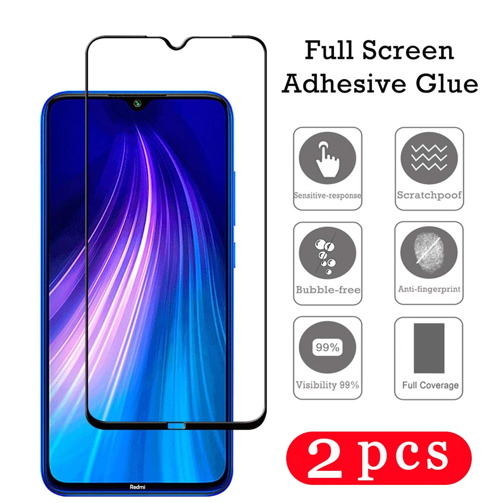 2 uds cubierta de vidrio templado para xiaomi redmi Nota 9s 8 8t 7 6 película protectora pro redmi 8A 7A 6A protector de pantalla del teléfono smartphone