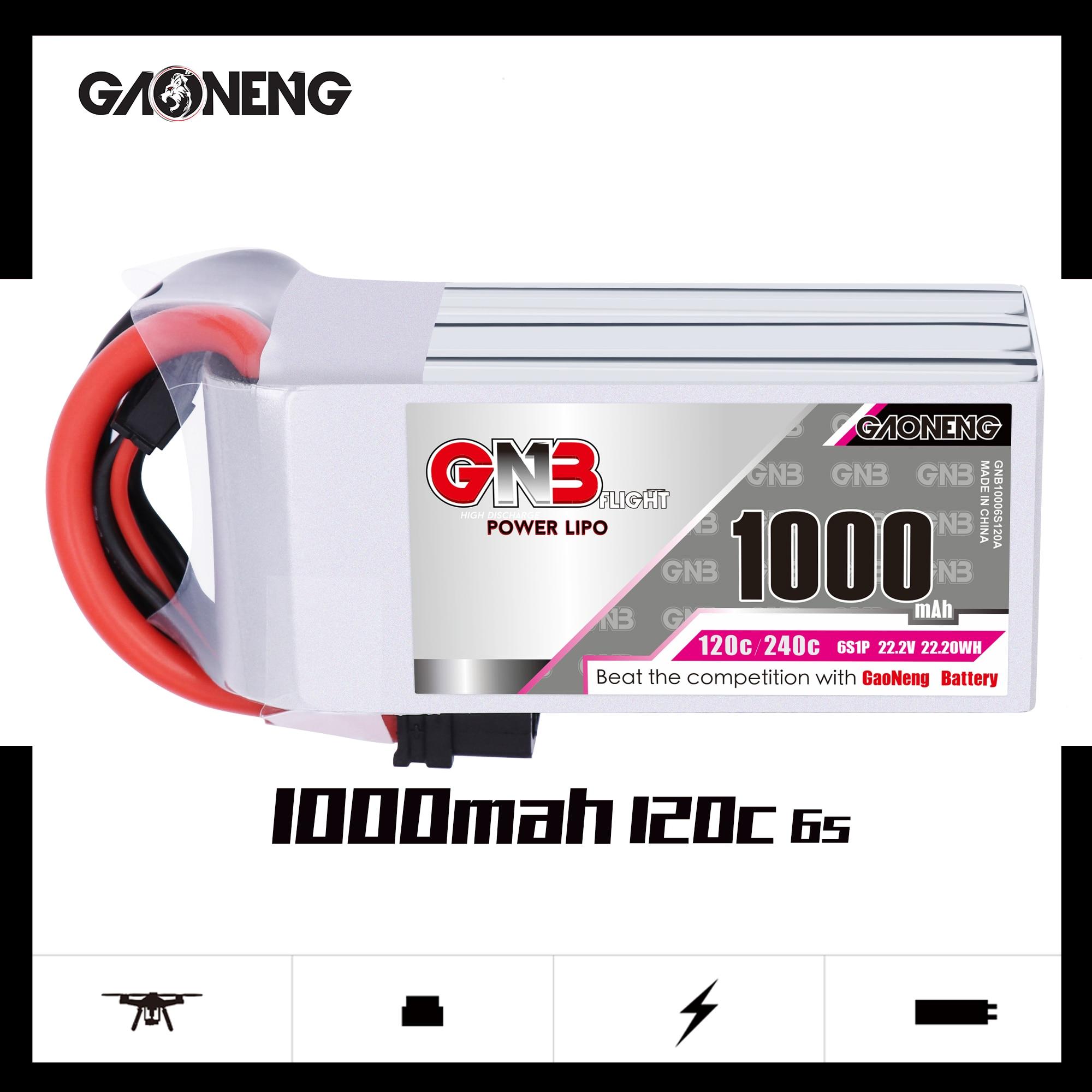 Gaonfeng GNB 1000mAh 22,2 V 6S 120C/240C Lipo batería con XT30 o XT60 enchufe para FPV Racing Drone RC Quadcopter partes de helicóptero