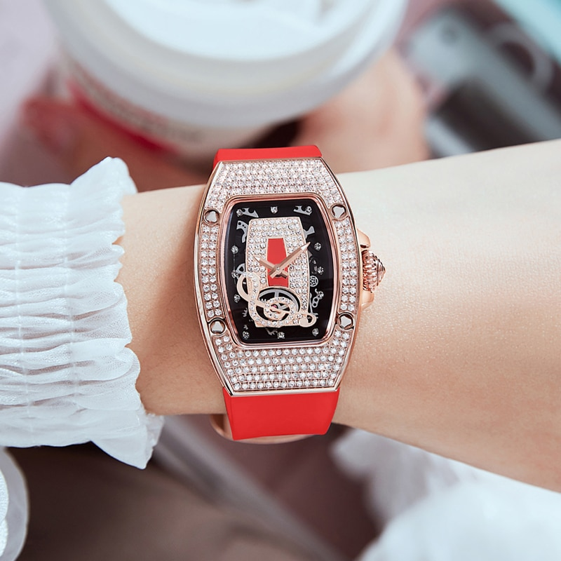 Hanboro New Square Fashion Trend Personality Hollow Out Waterproof Watch With Diamond Notes Quartz Women's Watch Relogio  Women enlarge