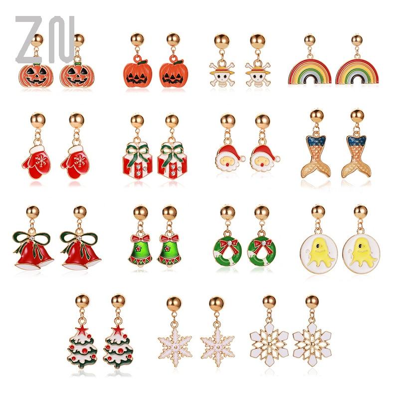 ZN New Halloween Christmas Earrings Tree Snowflake Antelope Santa Claus For Women Girls jewelry accessories