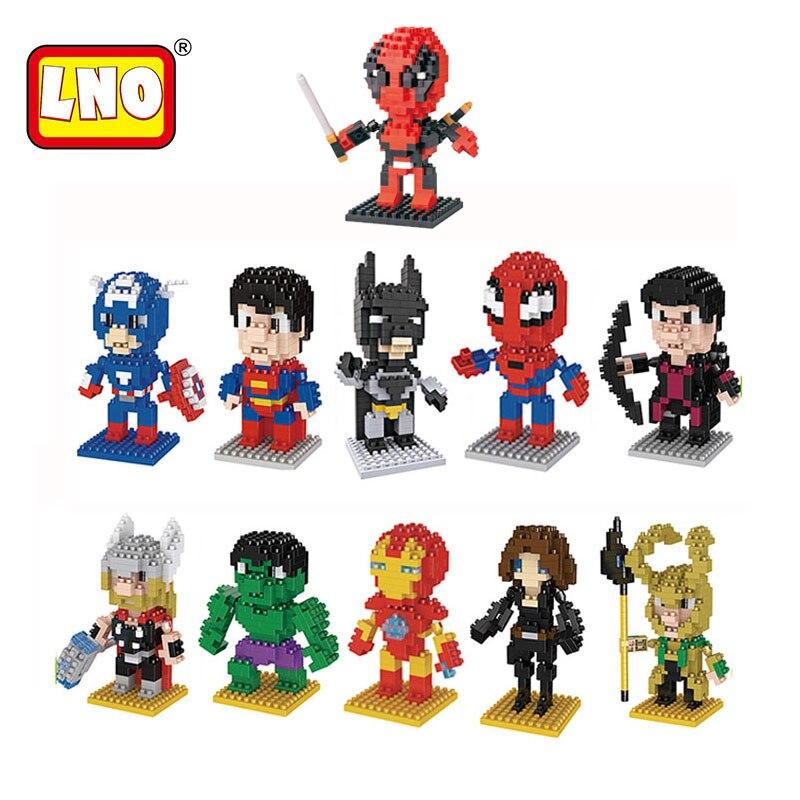 Набор моделей Diy Мини блок Супер Герои фигурки Бэтмен Тор Железный человек Hawkeye Халк микро пластиковые кирпичи горячие игрушки для детей