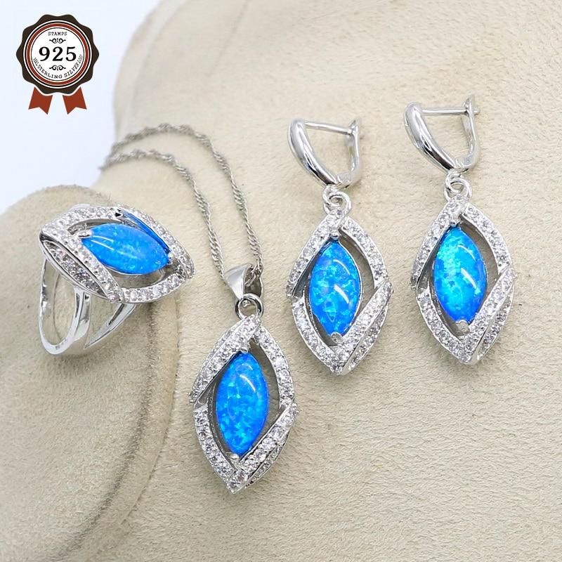 Juegos de joyas de plata para mujer de lujo de Plata de Ley 925 anillo de ópalo azul pendientes colgante conjunto joyería de moda