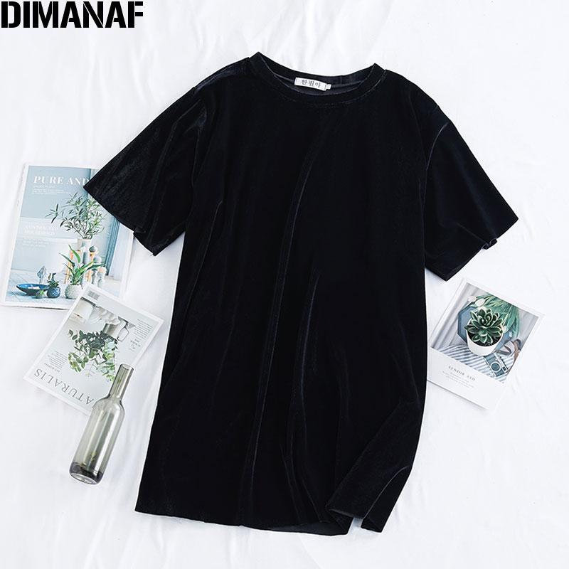 Dimanaf de verano de talla grande para mujer camisetas sueltas informales para mujer blusas túnica Camisetas Básicas de terciopelo negro sólido ropa femenina 2020