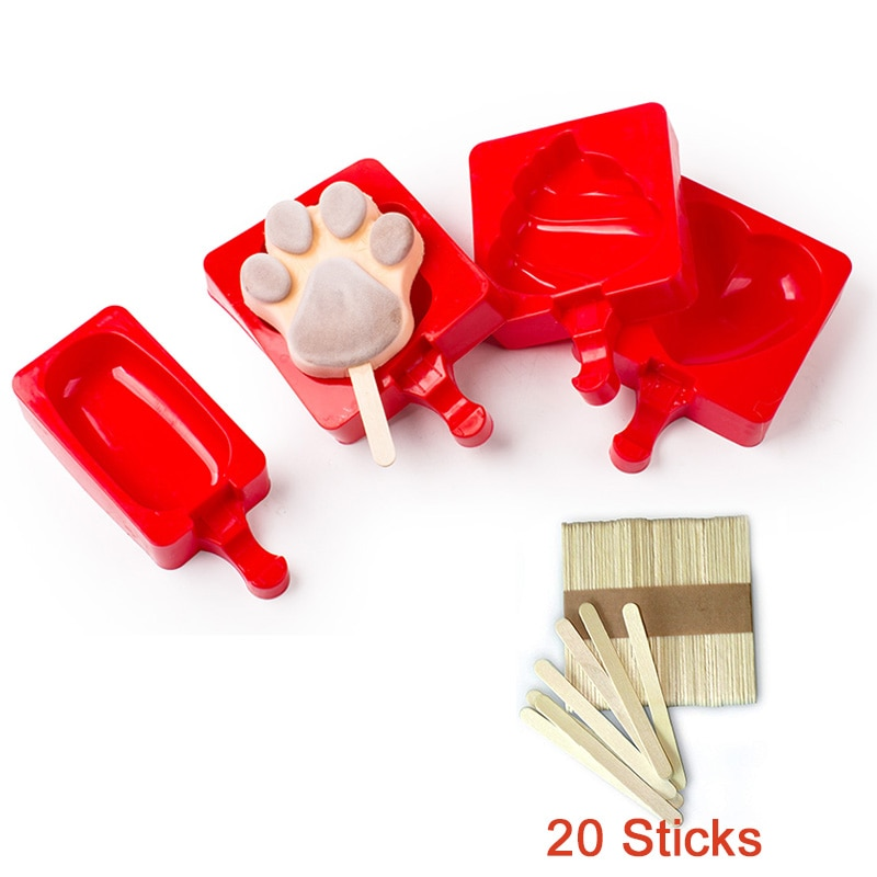 Single Reusable Silicone Ice Cream Mould with 20pcs Popsicle Stick Ice Cube Tray DIY Homemade Kids Toys Ice Mould creative diameter 45mm silicone ice hockey single hole silicone ball ice tray ice model