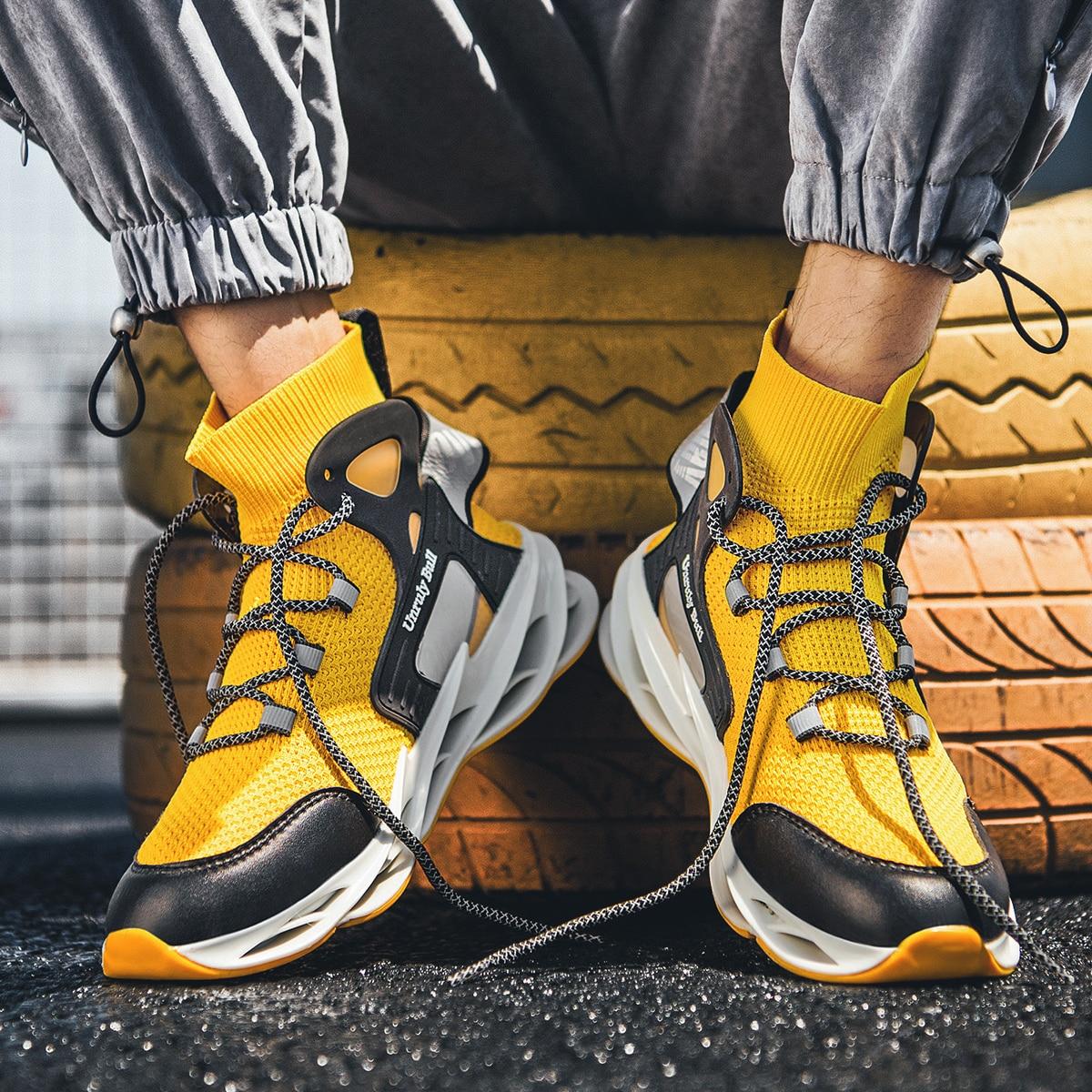 Sapatos masculinos de malha respirável, tênis casual branco de malha com sola grossa para homens