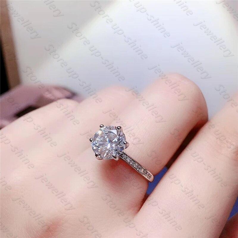 جو فاخر للمرأة 925 الفضة Moissan خاتم الماس حفلة خطوبة هدية مجوهرات