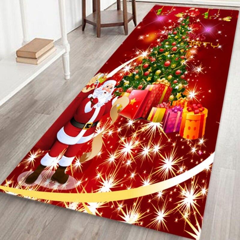 Estilo de dibujos animados día de Navidad alfombra antideslizante alfombra de área de vacaciones alfombra suave de lana de Coral alfombra de suelo para cocina sala de estar comedor dormitorio