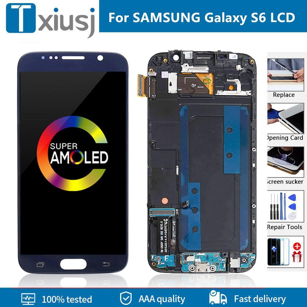 AMOLED لسامسونج غالاكسي S6 LCD G920F G920A عرض تعمل باللمس محول الأرقام مع الإطار لسامسونج S6 عرض حرق الظل