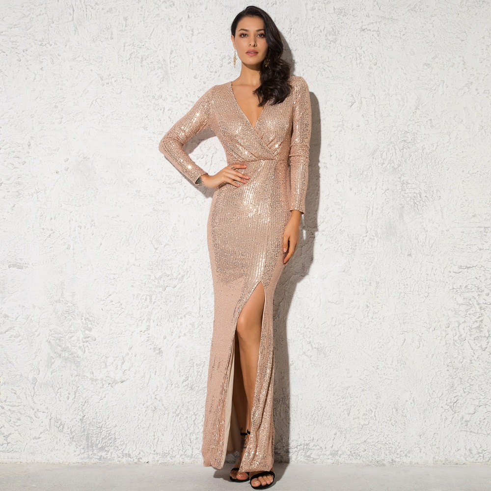 Elegant Sequined Wrap Dress V Neck Split Leg Sheath Night Party Maxi Dress Gown Elastic Green Burgundy Black Dresses