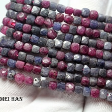 Meihan (1 strand) naturalne 3.5-4mm ruby & sapphire faceted plac luźne kamienne paciorki na projektowanie biżuterii DIY prezent
