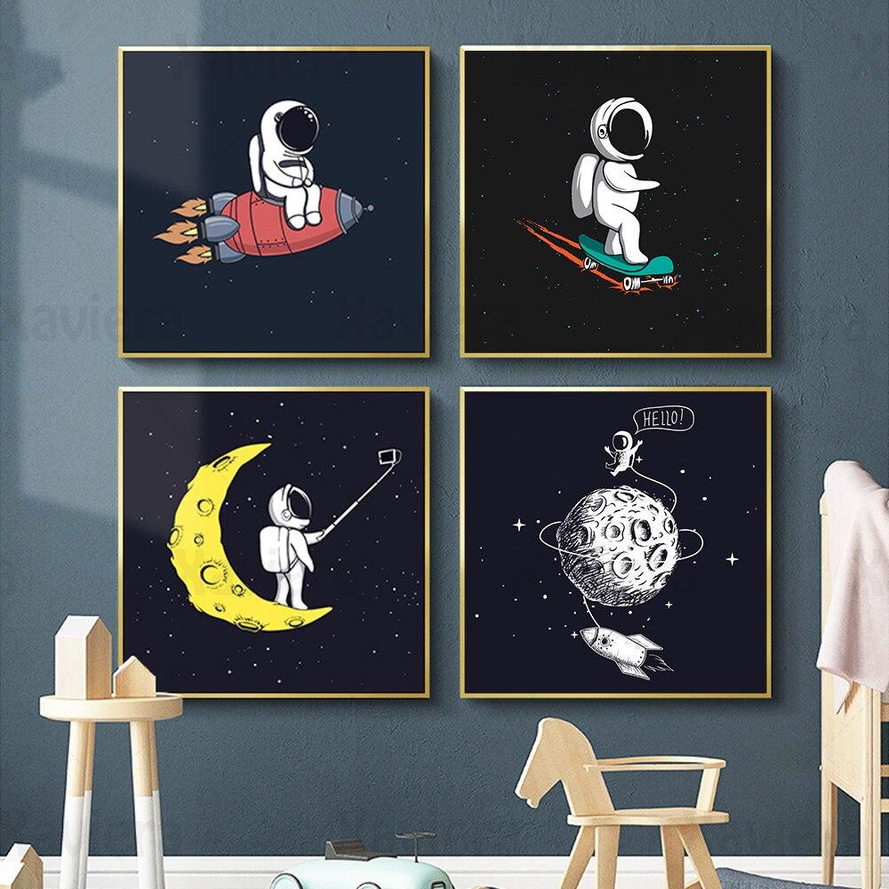Affiche de fusée spatiale dastronaute de dessin animé abstrait, peinture sur toile dart décoratif pour chambre denfants, images de chambre de bébé