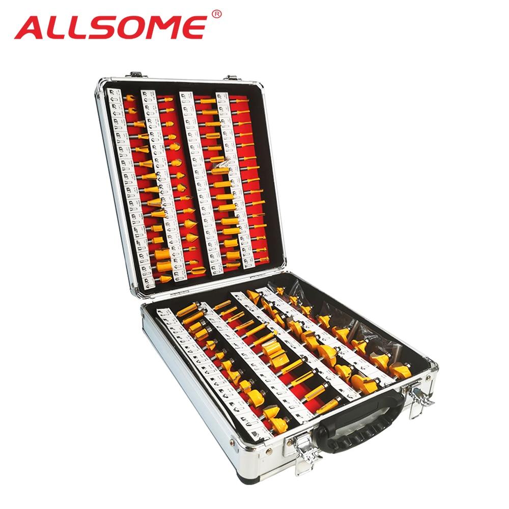 ALLSOME 100Pcs/Set 1/4 Inch Shank Tungsten Carbide Router Bit Woodworking Milling Cutter HT1192