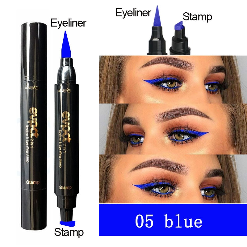 2 в 1 Подводка для глаз, печать макияжа, жидкая подводка для глаз, карандаш, 6 цветов, черный, синий, коричневый, дымчатый блеск, косметика для глаз, TSLM2