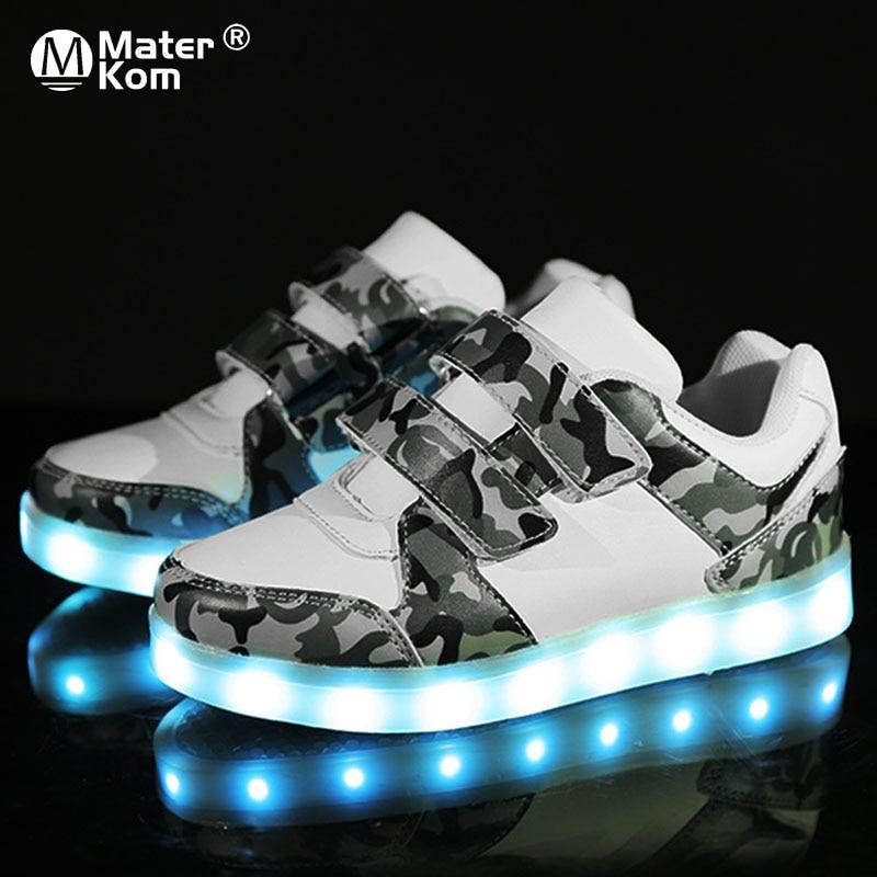 حجم 25-37 USB شحن الأطفال الفتيان الأحذية مع وحيد Enfant مصباح ليد متوهجة مضيئة أحذية رياضية للفتيات أحذية أطفال Led الأحذية