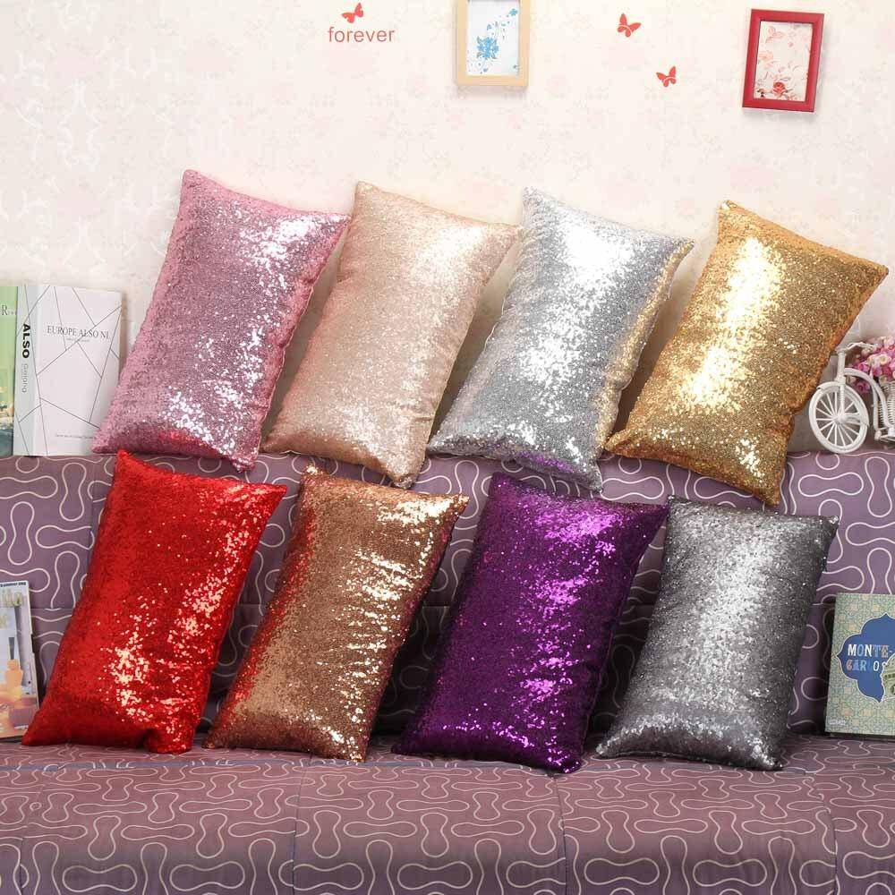 30cm * 50cm rectángulo multicolor brillo lentejuelas Bling sofá cama hogar café decoración Festival almohada funda funda de cojín B1
