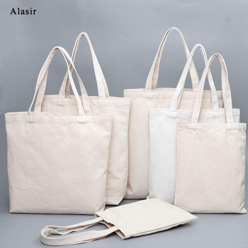 Bolso de mano de lona personalizado Alasir impreso DIY logotipo de texto bolso de compras Eco reciclable bolsa de lona de gran capacidad hombro personalizado bolsa