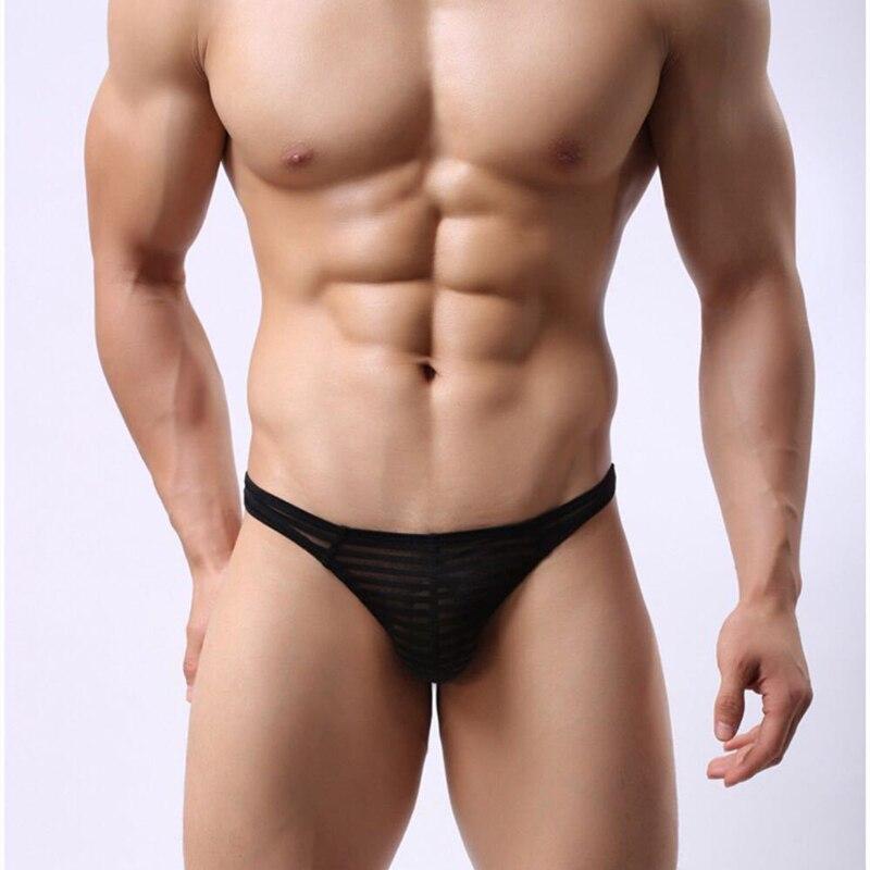 Ropa interior Sexy para hombre, Tanga con parte trasera en T, bragas de tiro bajo, transpirable, transparente, a rayas, Ultra delgada, lencería para pene, tangas