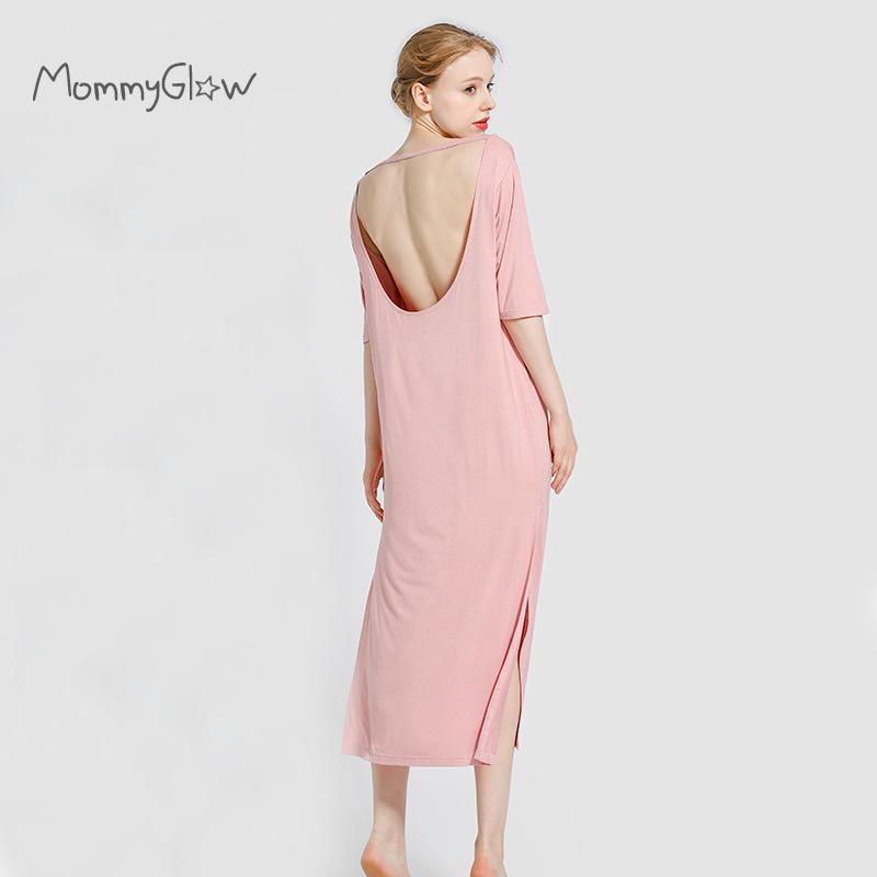 Summer Pregnancy Night Dress Maternity Nightwear Modal Short Sleeve Backless Solid Maternity Pajamas Sleepwear Plus Size 2021