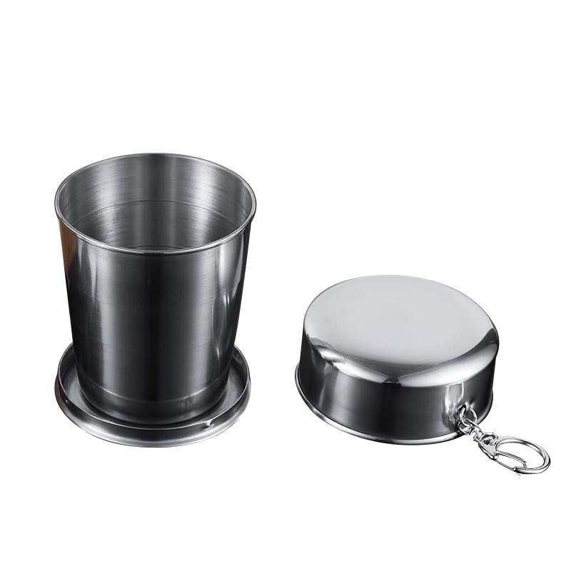 250ml Folding Cup Beer Cup Silver Stainless Steel Retractable Collapsible Cups Demountable Portable Outdoor Travel Supplies