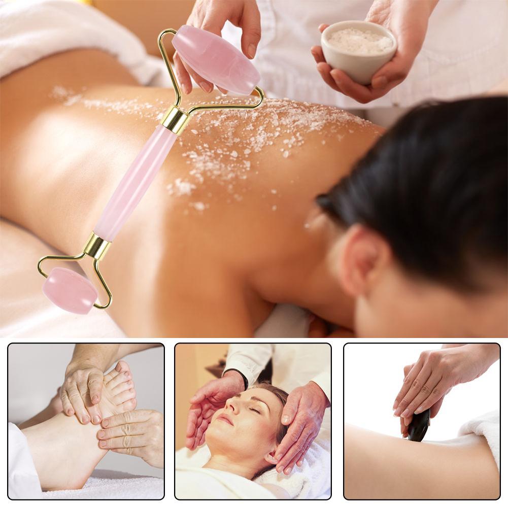 Quartz Facial Massage Crystal Stone Natural Rose Body Jade Massager Derma Roller Skincare Ice Roller Wrinkle Removal Beauty Tool