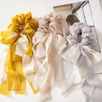 chiffon ribbon bowknot elastic hair bands for women girls solid scrunchies headband hair ties ponytail holder hair accessories