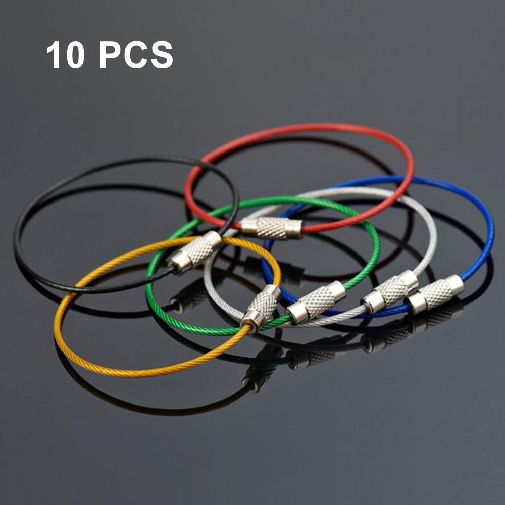 10 Uds llavero estilo cuerda Cable de acero inoxidable colorido equipo de aeronave llavero de anillo para equipaje para senderismo al aire libre etiqueta tornillo de bloqueo