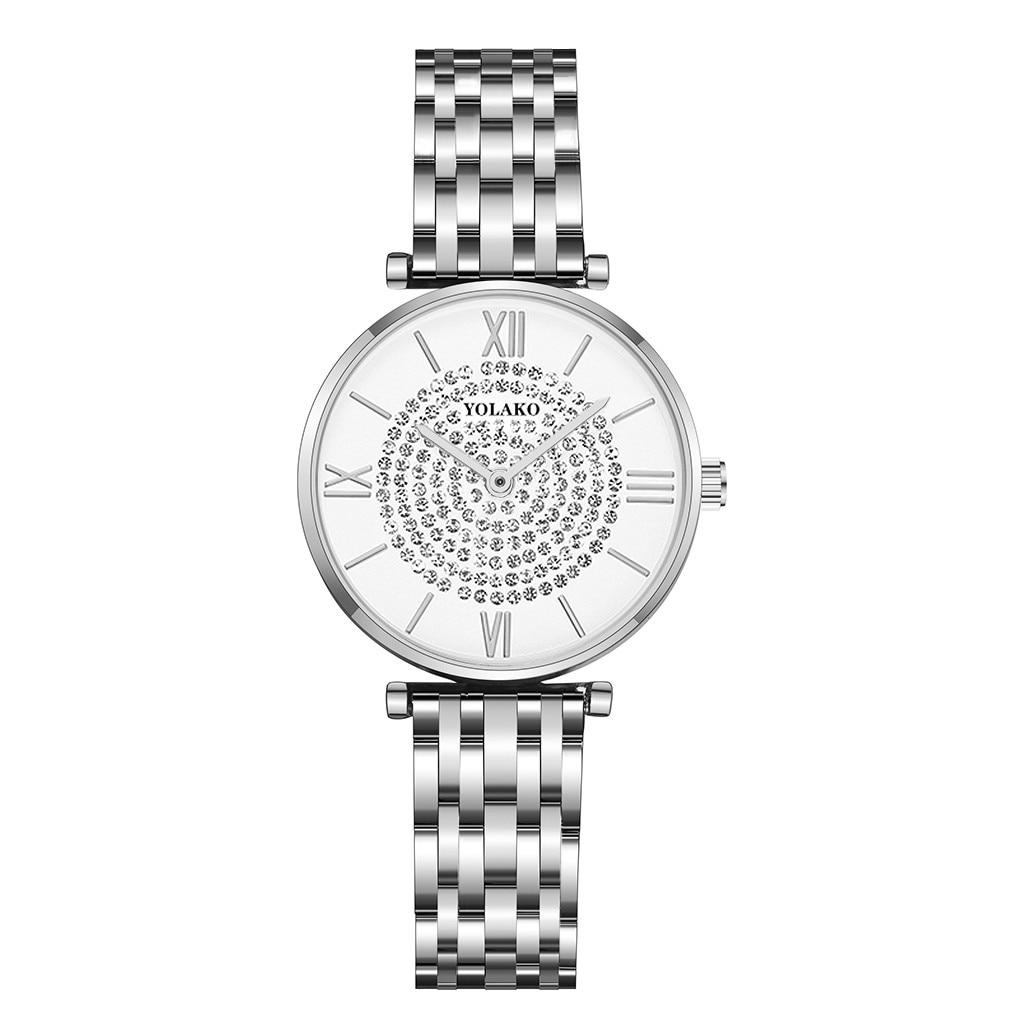 Simple Style White Stainless Steel Women Quartz Watches Rhinestone Fashion Exquisite Women Casual Watch часы женские наручные rosenthal classic watch collection часы наручные asymetria rosegold white metal