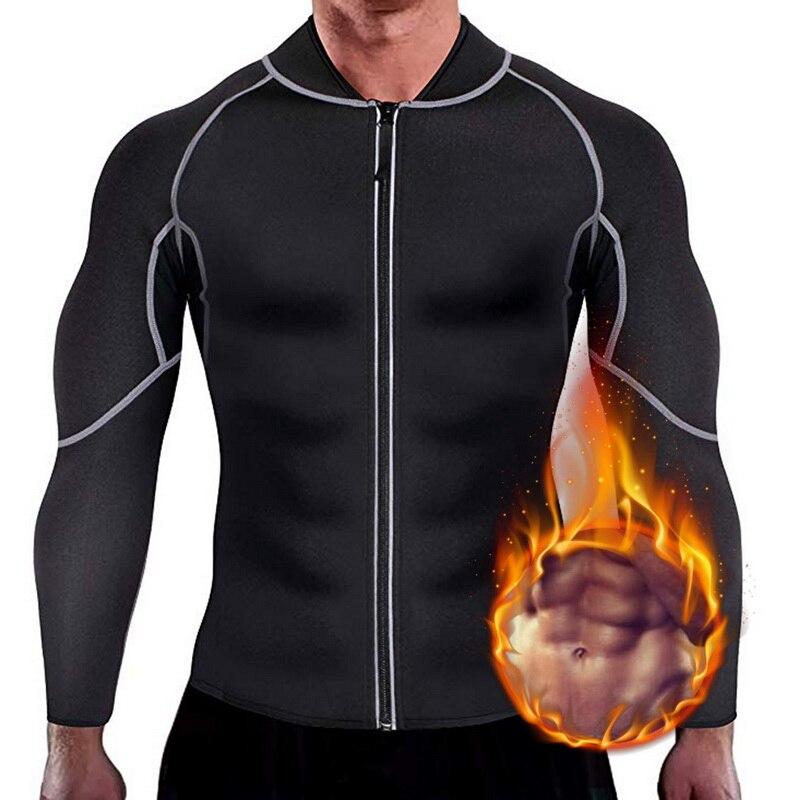 Cinturón de adelgazamiento de los hombres cintura entrenador corsé chaleco chaqueta con cremallera caliente camisa neopreno pérdida de peso sauna Body Shaper camisetas sin mangas