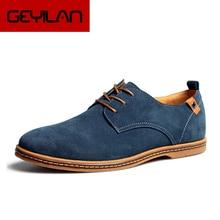 Men causal lace-up shoes large size Cow suede Tendon soles Breathable Four seasons men's shoes big s