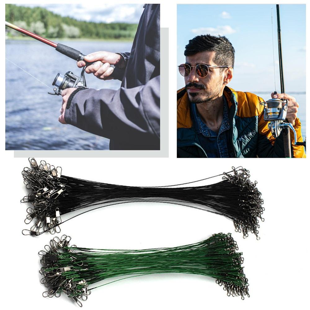 20 pçs anti mordida fio de aço linha de pesca líder de fio de aço com acessório de pesca giratória lead core trela fio de pesca 15cm-30cm
