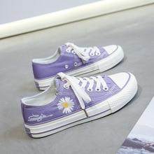 XM9 violet bas-haut Daisy toile chaussures femmes ulzzang style coréen tout-match conseil chaussures 2020 nouveau chaussures décontractées