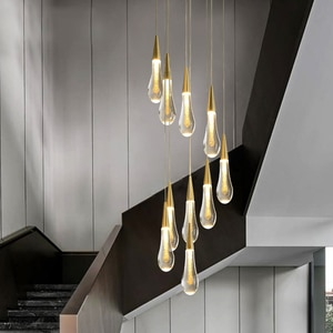 Modern Crystal Glass Led Pendant Lights Nordic Gold Hanging Lamps for Living Room Home Indoor Lighting Staircase Light Fixtures