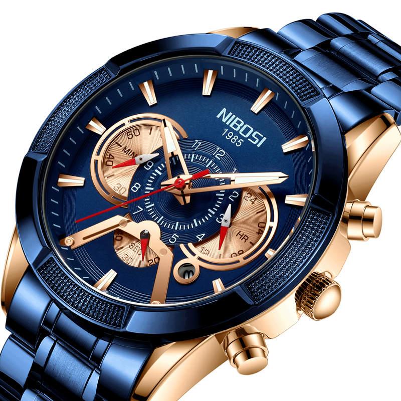 NIBOSI USA Watch 2020 Sport Waterproof Watch Men Fashion Quartz Wristwatch Luminous Chronograph Clock Relogio Masculino